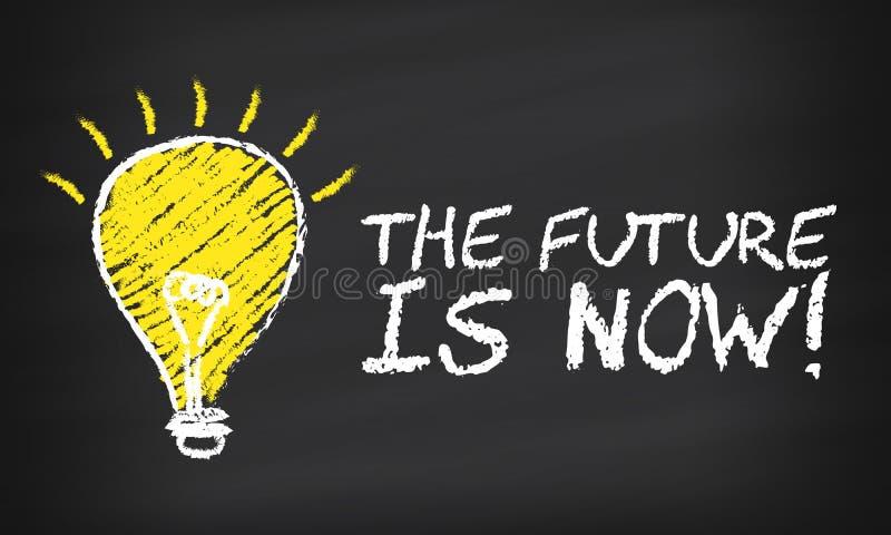 Przyszłość jest Teraz na blackboard obrazy stock