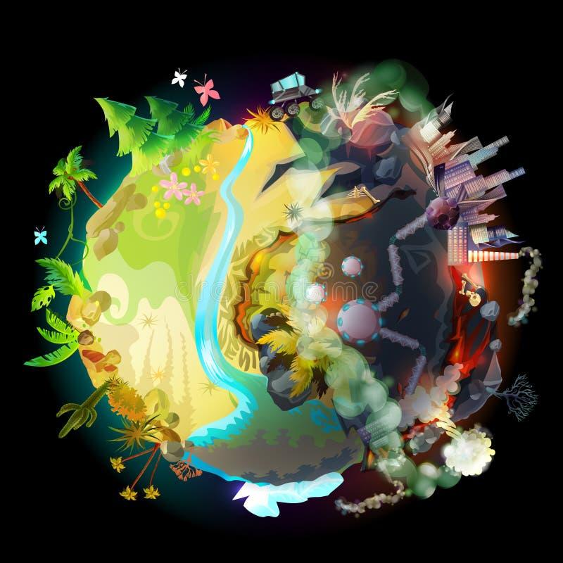 Przyszłość nasz ziemia, wektorowy ekologiczny pojęcie royalty ilustracja