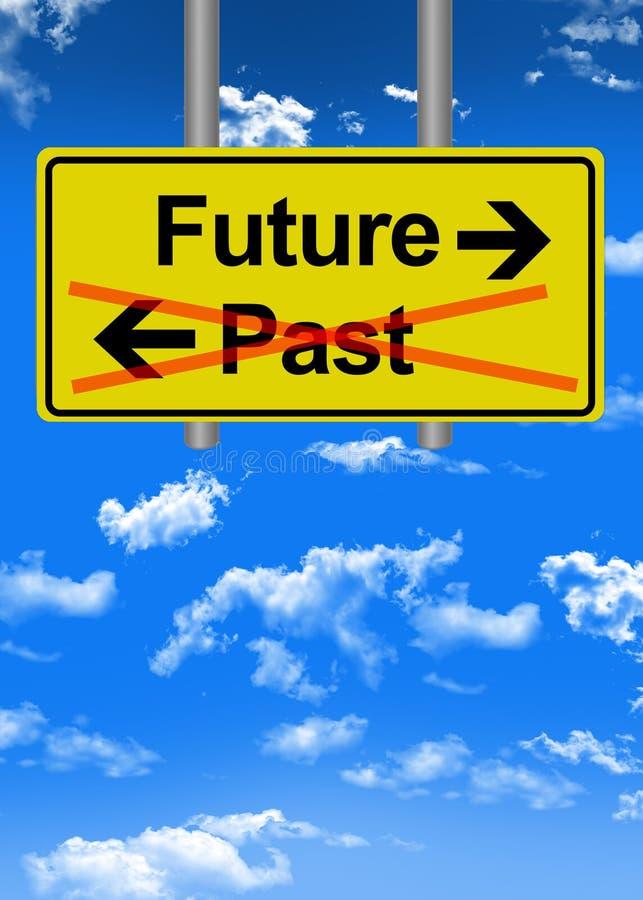 Przyszłość versus past drogowego znaka pojęcie royalty ilustracja