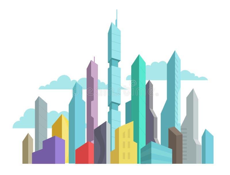 Przyszłość wynajdowć miasto drapacza chmur panoramy wieżowów wektoru zapasu kolorowa ilustracja nowoczesna architektura ilustracji