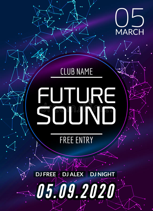 Przyszłości muzyki przyjęcia rozsądny szablon, prywatka ulotka, broszurka Nocy przyjęcia klubu kreatywnie plakat z DJ lub sztanda ilustracja wektor