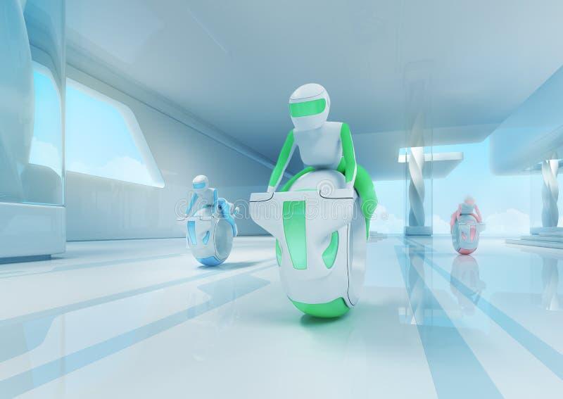 Przyszłościowi motobike jeźdzowie w techniki wnętrzu. ilustracja wektor