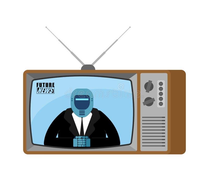 Przyszłościowa wiadomość TV stary tv Robota dziennikarza cyborga nadawczy Anc ilustracja wektor