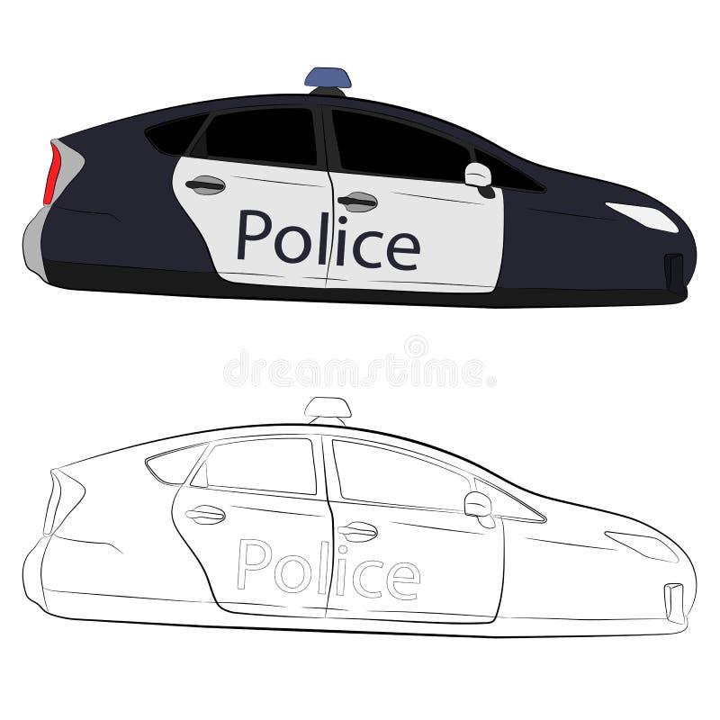 Przyszłościowego latającego samochodu policyjnego wektorowa rysunkowa ilustracja royalty ilustracja