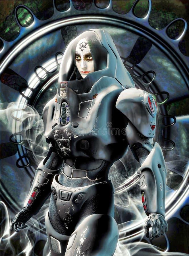 Przyszłościowy żeński astronauta ilustracja wektor