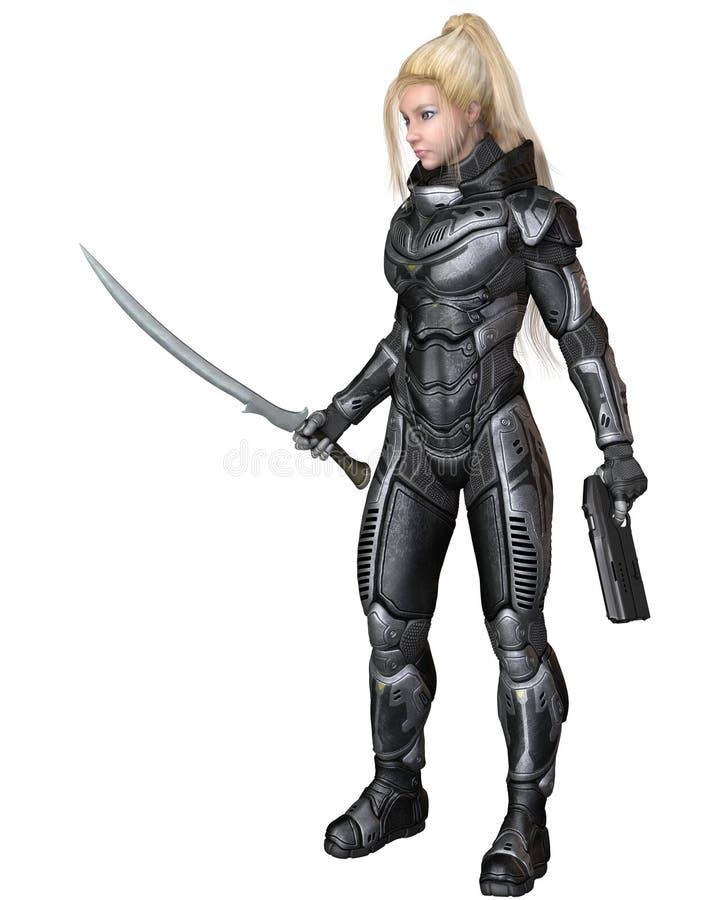 Przyszłościowy żołnierz, blondynki kobieta, Stoi royalty ilustracja