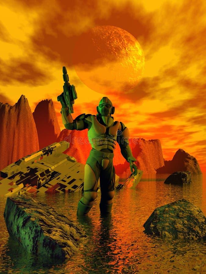 Przyszłościowy żołnierz na dziwacznej planecie royalty ilustracja