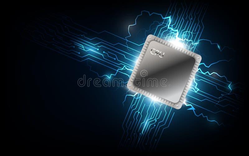 Przyszłościowy komputerowy procesor, elektroniczny technologii tło, vec ilustracji