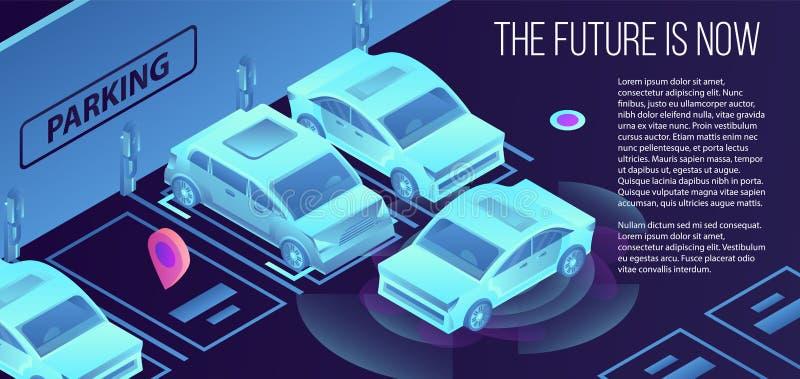 Przyszłościowy mądrze parking sztandar, isometric styl royalty ilustracja