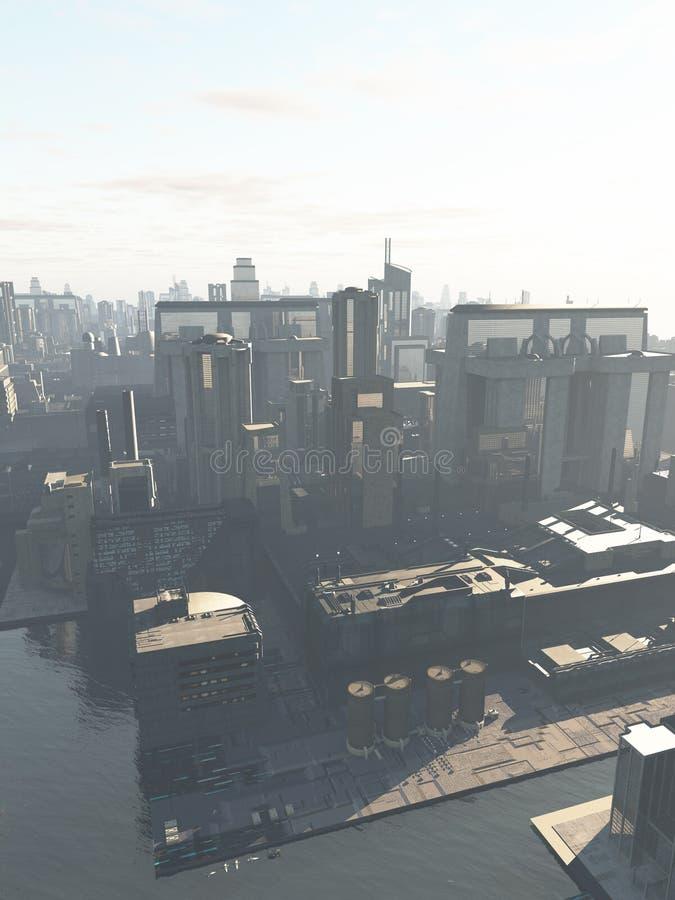 Przyszłościowy miasto - Kanałowy okręg ilustracja wektor