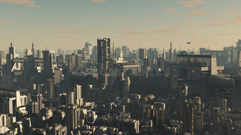 Przyszłościowy miasto - późne popołudnie ilustracji