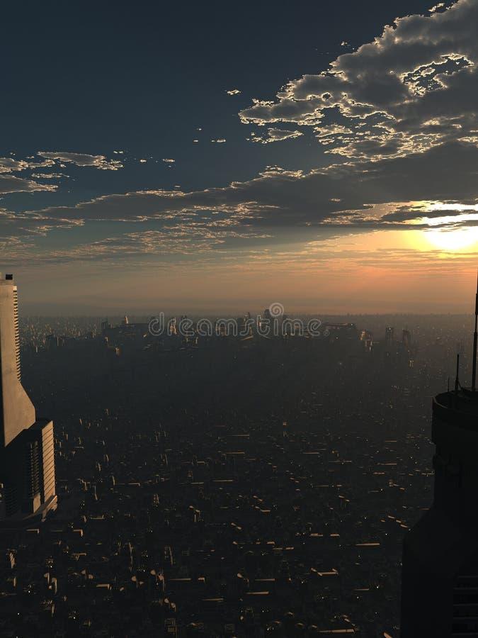 Przyszłościowy miasto przy półmrokiem royalty ilustracja