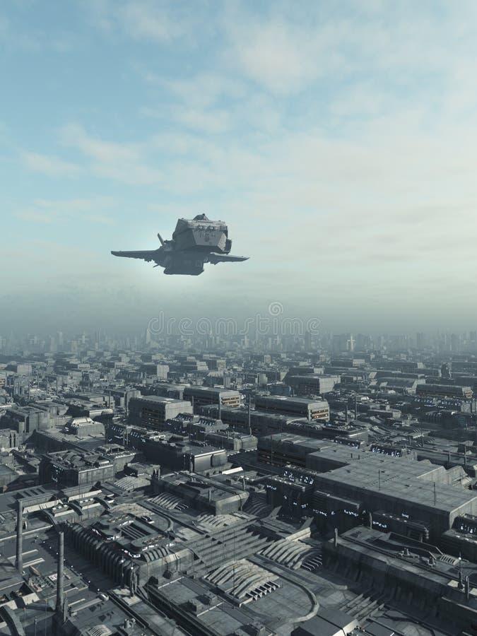 Przyszłościowy miasto statku kosmicznego przelot ilustracji
