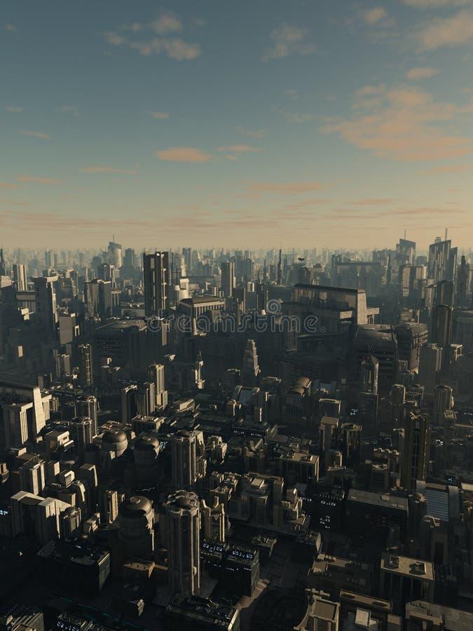 Przyszłościowy miasto w późnego popołudnia świetle ilustracja wektor