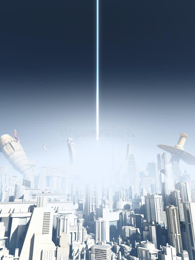 Przyszłościowy miasto wybuch ilustracji