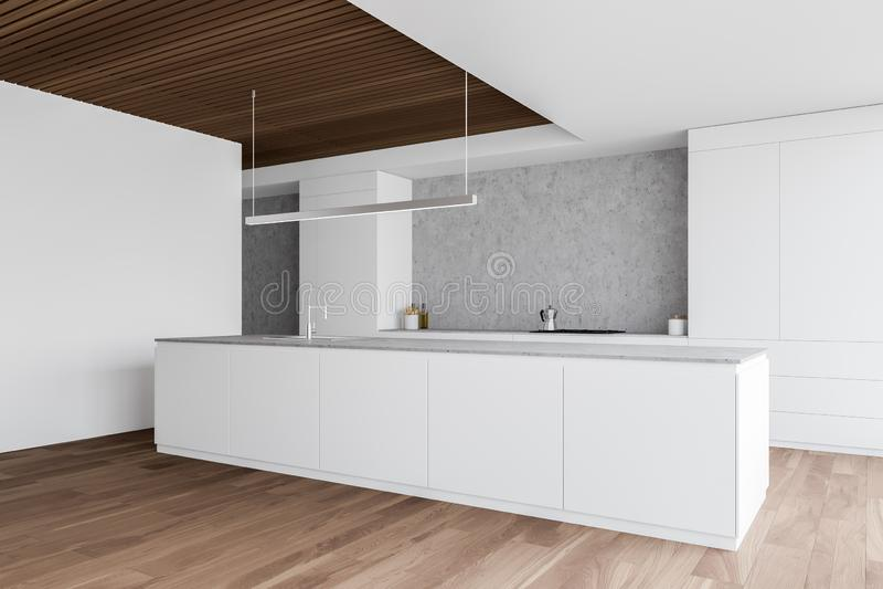 Przytulna biała i drewniana kuchnia z kontrapami ilustracji