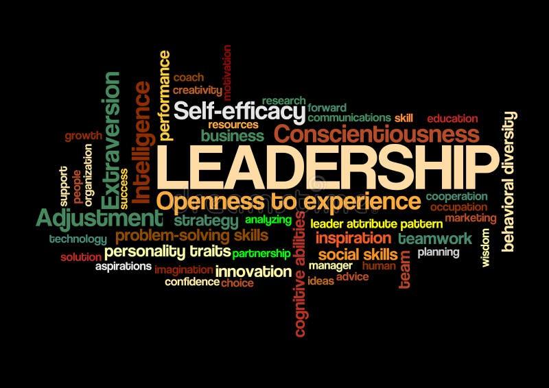 Przywódctwo słowa etykietki chmury lidera atrybutu wzoru pojęcie ilustracja wektor