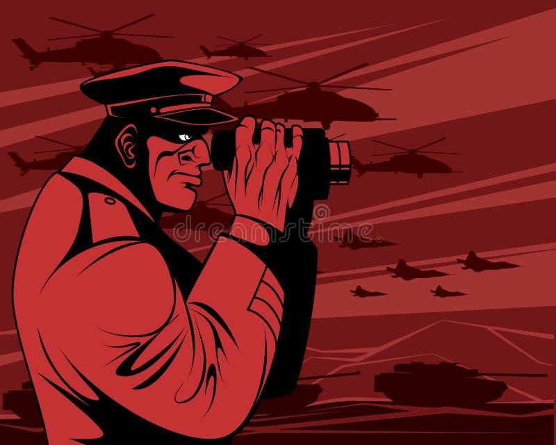 Przywódca wojskowy w wojnie ilustracji