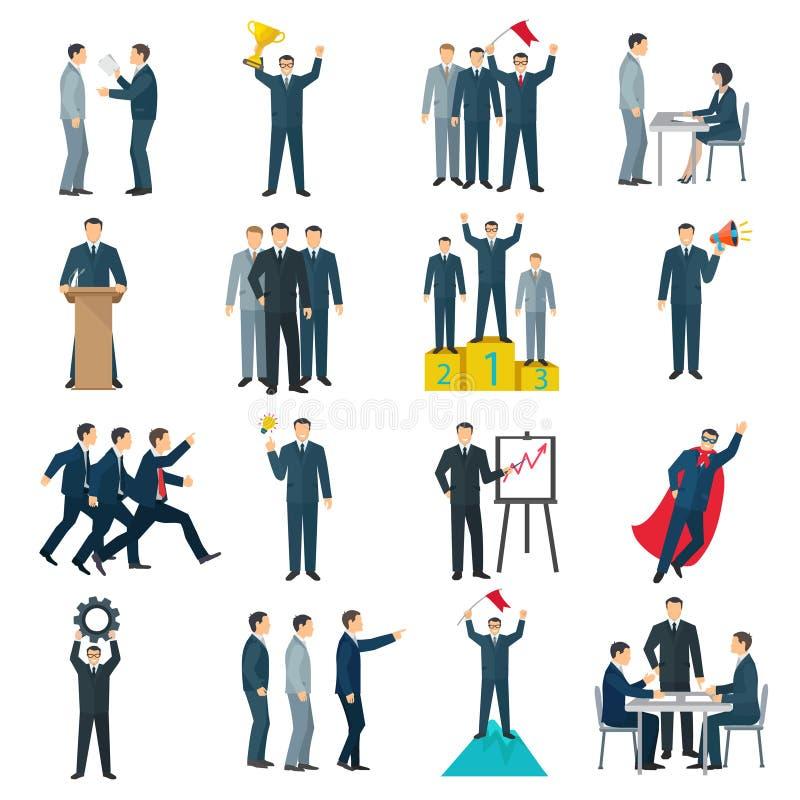 Przywódctwo koloru Płaskie ikony ilustracja wektor