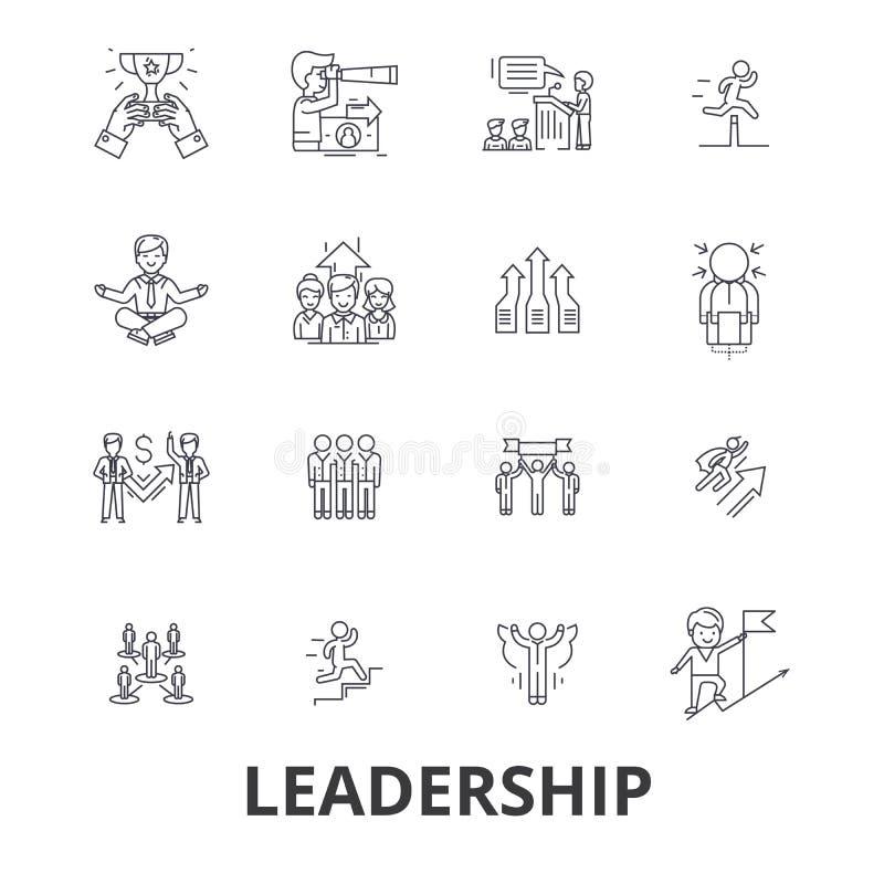 Przywódctwo, lider, zarządzanie, praca zespołowa, prowadzenie, rozwój, sukces, innowacj kreskowe ikony Editable uderzenia mieszka ilustracja wektor