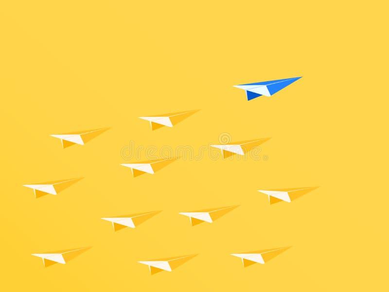 Przywódctwo pojęcie Błękitny papierowego samolotu lider stoi out od tłumu Biznesowe przewag sposobności i sukcesu pojęcie royalty ilustracja