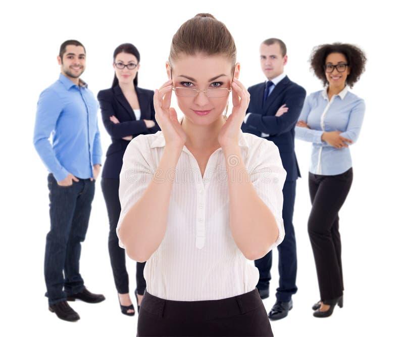 Przywódctwo pojęcie biznesowa kobieta i jej koledzy odizolowywający - zdjęcia stock