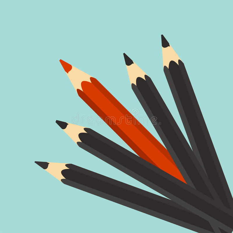 Przywódctwo pojęcie Czerwony unikalny różny ołówek Indywidualność, royalty ilustracja