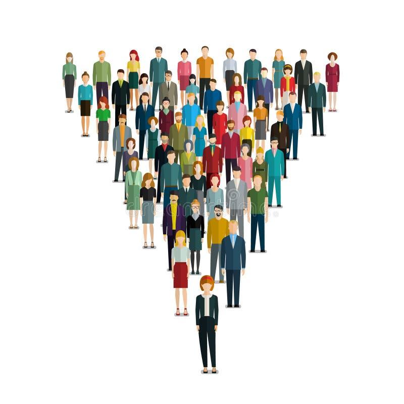 Przywódctwo pojęcie Ludzie podążają lidera ilustracja wektor