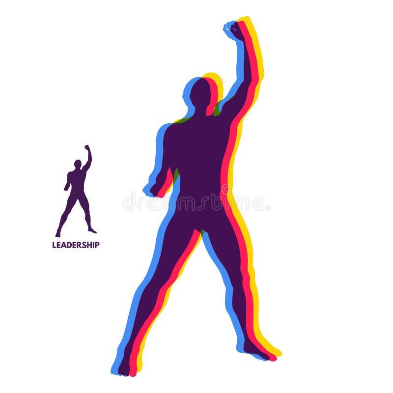 Przywódctwo pojęcie Trwanie mężczyzna Istota ludzka z ręką up Sylwetka dla sporta mistrzostwa royalty ilustracja
