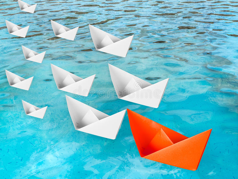 Przywódctwo pojęcie z papierową łodzią royalty ilustracja