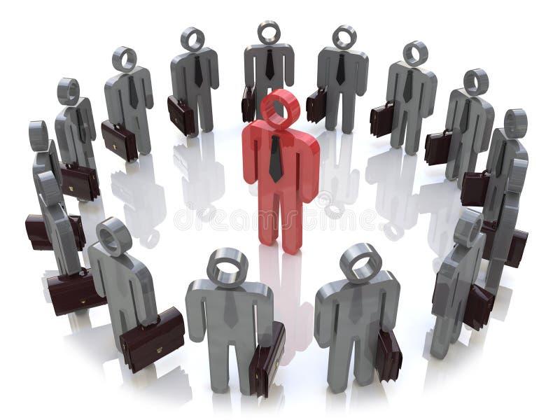 Przywódctwo, praca zespołowa, indywidualność i socjalny sieci medialny autobus, ilustracja wektor