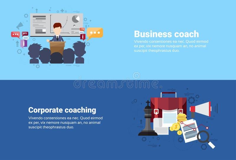 Przywódctwo trenowania Korporacyjnego zarządzania sieci Biznesowy sztandar royalty ilustracja