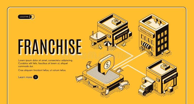 Przywileju biznesowego początku isometric wektorowa strona internetowa royalty ilustracja