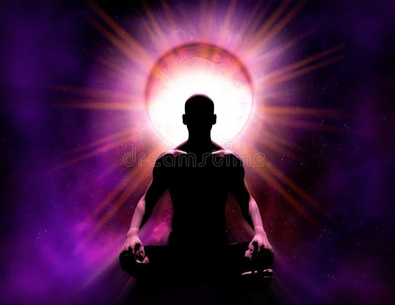 Psíquico universal Mind Power de la meditación y de la aclaración stock de ilustración