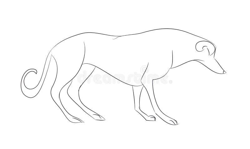 Psów stojaki, linie, wektor ilustracji