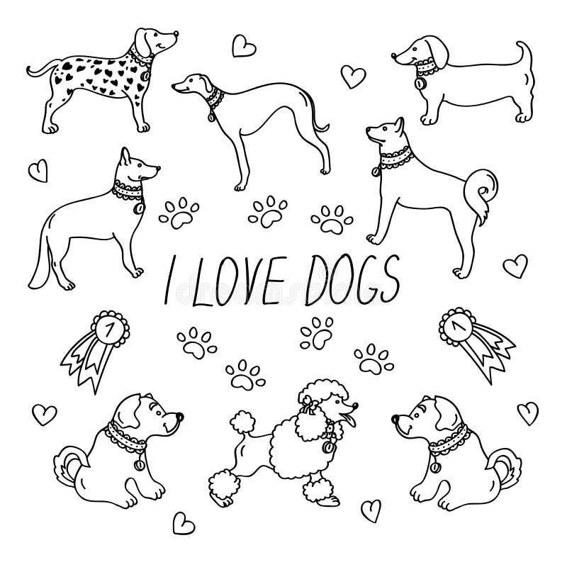 Psów trakeny Set z inskrypcją kocham psy ilustracja wektor