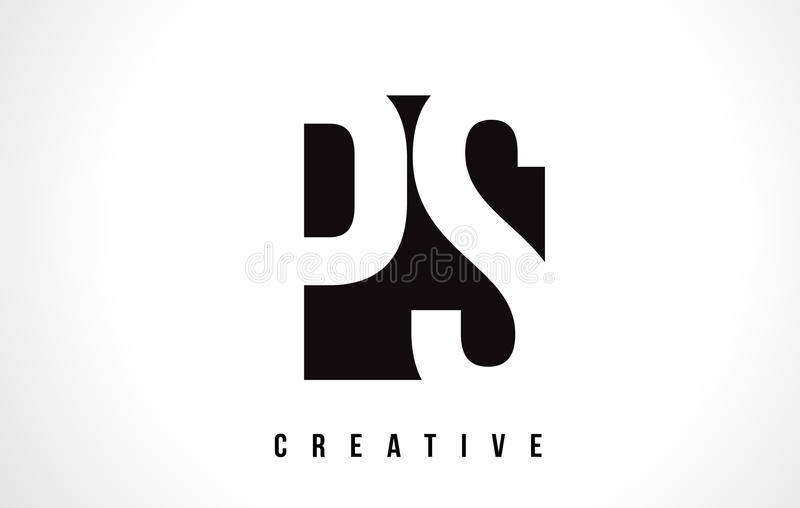 PS P S Witte Brief Logo Design met Zwart Vierkant vector illustratie