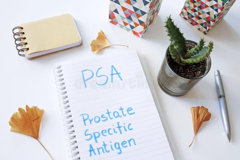 PSA αντιγόνο που γράφεται προστατικός-συγκεκριμένο στο σημειωματάριο στοκ εικόνες με δικαίωμα ελεύθερης χρήσης