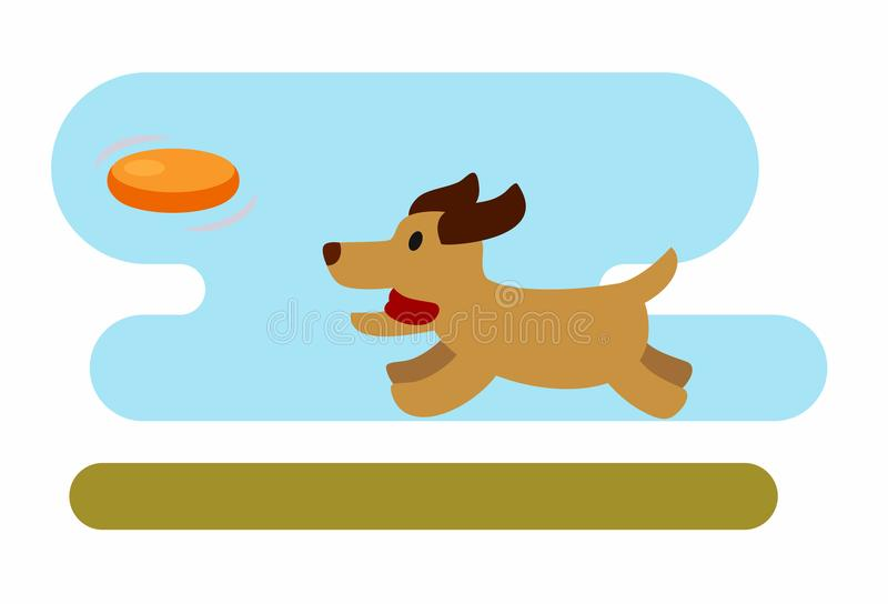 psa frisbee grać ilustracja wektor
