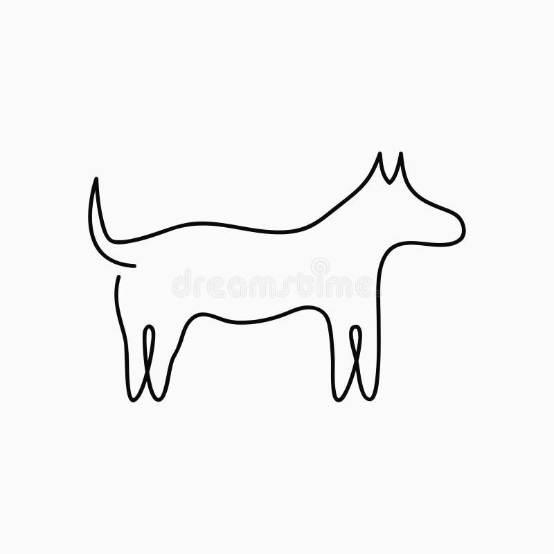 Psa jeden kreskowy rysunek Ciągłej linii zwierzęcia domowego zwierzę Pociągany ręcznie ilustracja dla loga, emblemata i projekt k ilustracja wektor