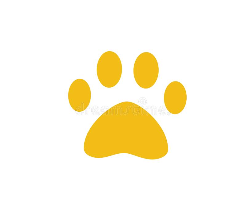 Psa lub kota łapa Symbol zwierzę domowe Zwierzęcy odcisk stopy Szczeniak ikona royalty ilustracja
