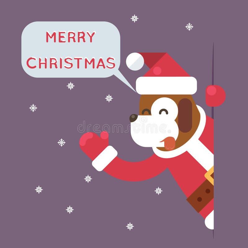 Psa 2018 Wesoło bożych narodzeń Santa postać z kreskówki Przyglądającego Narożnikowego kartka z pozdrowieniami projekta wektoru P ilustracji