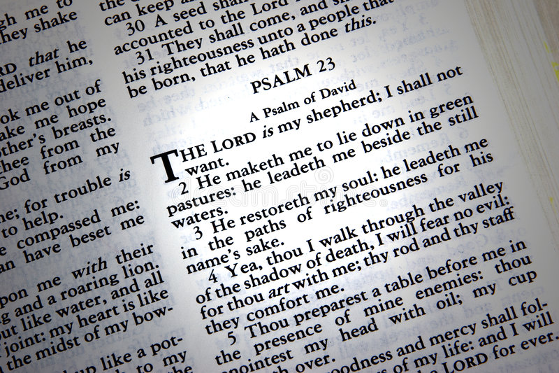 Psalm 23 stock image