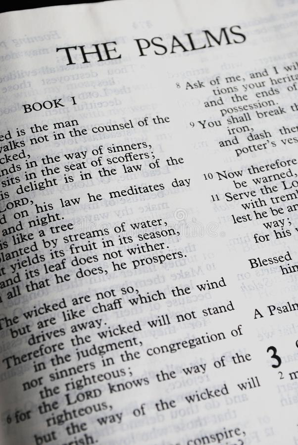 The Psalms. Closeup of the Psalms in the Christian Bible stock images