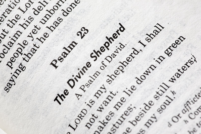Psalms 23. A macro detail of Psalms 23 in the Christian Bible stock photography