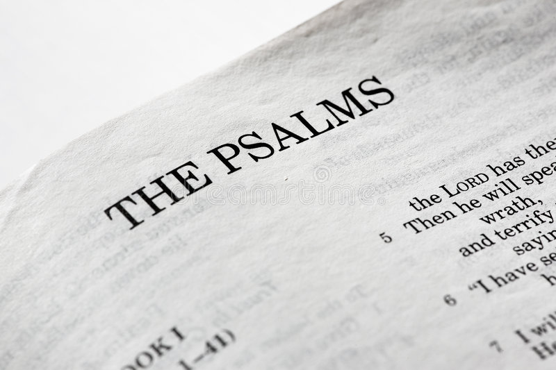 The Psalms. A macro detail of the book of psalms stock images