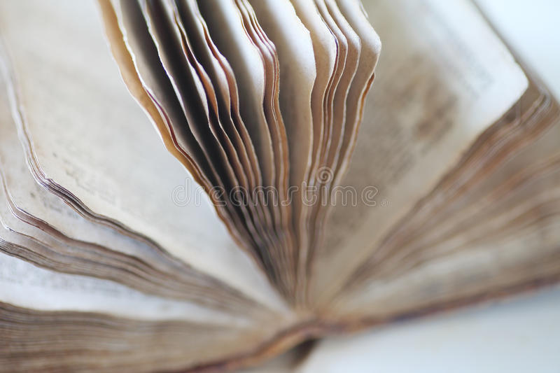 Psalms book from 19th century. Vintage open book of Psalms closeup royalty free stock photography