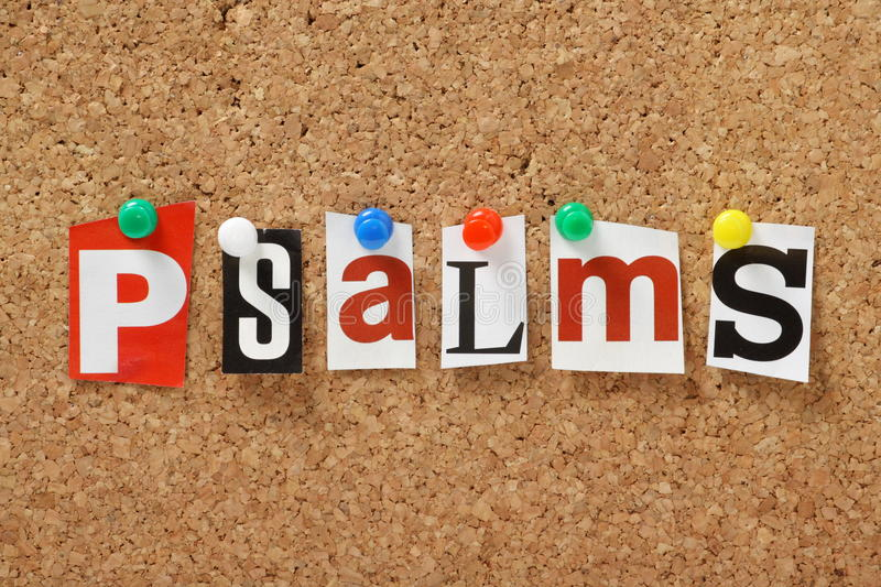 Psalms. The word Psalms, one of the books from the bible in cut out out magazine letters pinned to a cork notice board royalty free stock photos
