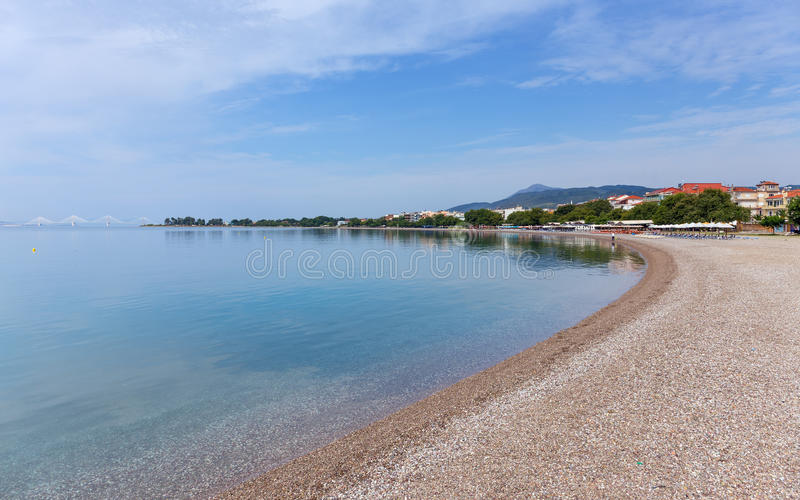Psani beach in Nafpaktos, Greece. Nafpaktos is a town and a former municipality in Aetolia-Acarnania, Greece stock photo