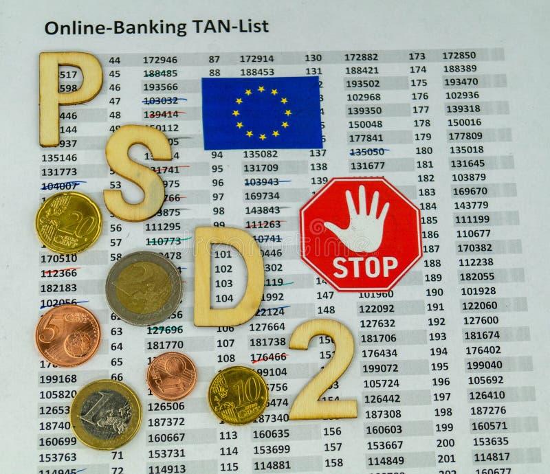 PSD2 - Betalningservice Directment två royaltyfria bilder